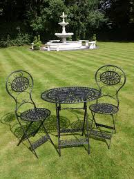 Cast Iron Patio Set Table Chairs Garden Furniture - black wrought iron 3 piece bistro style garden patio furniture set
