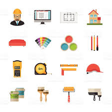 Desing by Architecture Interior Design And Repairs Vector Flat Desing Icons
