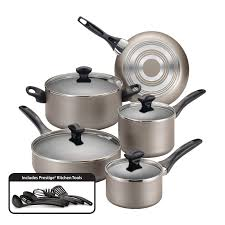 Kitchen Collection Free Shipping Farberware Dishwasher Safe Nonstick 15 Piece Cookware Set Champagne