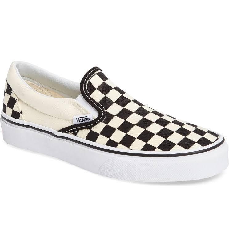 Vans Classic Slip-On (Black & White Checkerboard/White) Skate Shoes-9