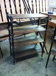 industrial pipe shelves pair of reclaimed oak and industrial