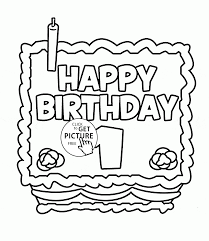 happy 1st birthday card coloring page for kids holiday coloring