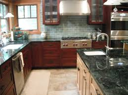 cherry cabinets in kitchen mission style kitchen tile tile backsplash for craftsman kitchen