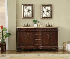 60 inch victorian double sink bathroom vanity cabinet with benevola