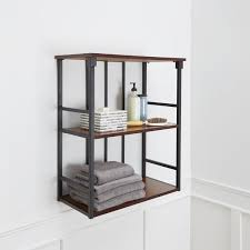 mixed material bathroom collection 3 tier wall shelf free