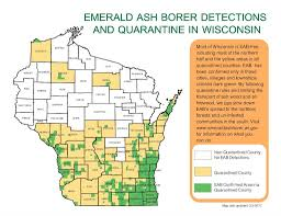 Wisconsin Map With Counties by Emerald Ash Borer New Locations In Wisconsin Wisconsin Dnr