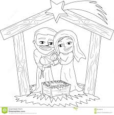 christmas nativity scene coloring page stock images image 35120024
