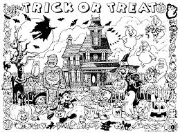halloween haunted house trick or treat halloween coloring