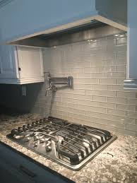 Glass Subway Tiles For Kitchen Backsplash Light Gray 2x12 Hand Painted Subway Glass Tile Kitchen For
