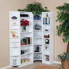furniture alluring white corner bookshelf for chic home with