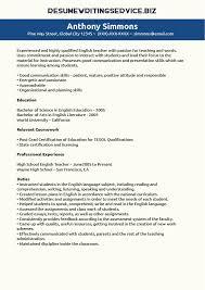 Example English Teacher Resume CV style