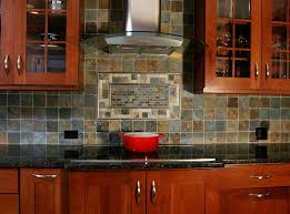 Kitchen Backsplash Cherry Cabinets by Slate Backsplash Kitchen Aralsa Com