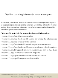 Writing A Cover Letter For An Internship Accounting Internship Resume Sample Accounting Intern Resume