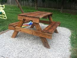 Plans To Build A Picnic Table Bench by Diy Kids Picnic Table From Pallet Wood Diy At Needles And Nails