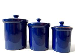 cobalt blue ceramic canister set made in italy italian kitchen
