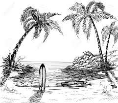 paysage marin dessin avec palmiers et planche de surf dans le