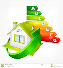 Energy Efficient House Plans Energy Efficiency Rating With Arrows And House Stock Image Image