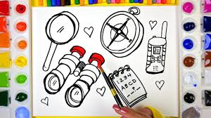 draw color paint spy tools coloring pages for kids to learn