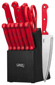 Ontario Kitchen Knives Essential Series 14 Piece Cutlery Set W Black Block And Red Handles