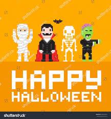halloween vector art mummy dracula skeleton zombie pixel art stock vector 486287620