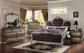Bedroom Furniture Granite Top Meridian Roma King Upholstered Panel Bed In Antique Silver
