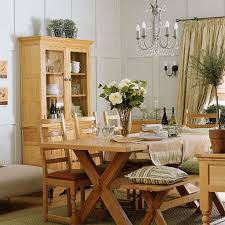 solid wood dining chairs with table and bench and hutch in country