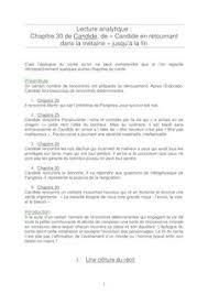 Lecture analytique de Candide sur le Chapitre      Fiches de lecture
