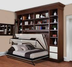 creative wooden loft bed furniture above simple dining table with