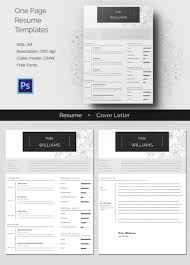 One Page Resume Template   gt  Template net