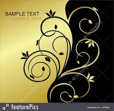 Printable Invitation Card Stock Templates Gold And Black Invitation Card With Floral Background