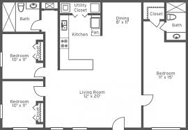 One Room Apartment Floor Plans Two Bedroom One Bath Apartments