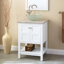Everett Vessel Sink Vanity White Bathroom - Height of bathroom vanity for vessel sink