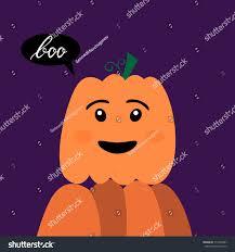 halloween kawaii pumpkin inscription brush boo stock vector