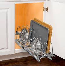 chrome roll out lid organizer in pull out baskets