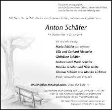 Anzeige für Anton Schäfer - 110451