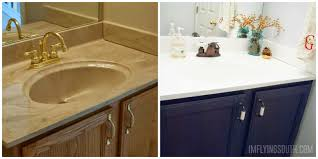 remodelaholic painted bathroom sink and countertop makeover
