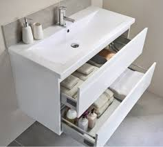 utopia qube 600mm wall hung 2 drawer reduced unit with ceramic basin