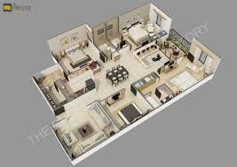 3d floor plan home office villa hotel rendering