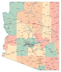 Map Of The Usa by Large Administrative Map Of Arizona State With Roads Highways And