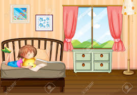 illustration of a child studying inside her room royalty free