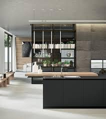kitchen glossy dark kitchen island wooden worktop suspended lights