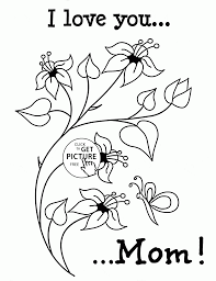 cute flowers with love mother u0027s day coloring page for kids