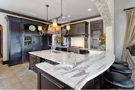 Elegant Kitchen Cabinets Elegant Kitchen Furnished With Dark Wood Cabinets And Using
