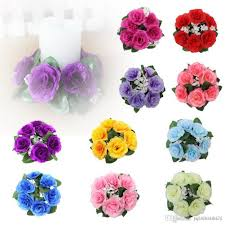 buy floral candle rings wedding centerpieces silk roses flowers
