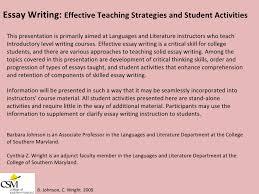 Essay Writing  Effective Teaching Strategies and Student Activities B    SlideShare