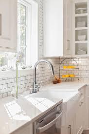 Farmhouse Sink With Misty Carrara Caesarstone Quartz Countertop - Carrara tile backsplash