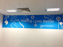 creative office branding using wall graphics wall stickers give a