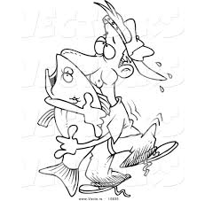 vector of a cartoon man hugging a bass fish coloring page