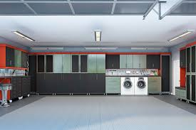 garage storage ideas plus man caves the combination red melamine and black textured faux leather fronts stainless steel create masculine yet chic design that