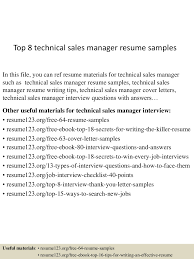 Technical Sales Resume Examples Top8technicalsalesmanagerresumesamples 150515024434 Lva1 App6892 Thumbnail 4 Jpg Cb U003d1431657918
